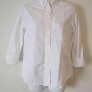 Uniqlo White Long Sleeve Button Down Blouse Small